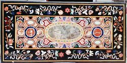 30 X 60 Inches Marble Coffee Table Top Mosaic Art Patio Table For Garden Decor