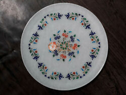 Collectible White Marble Serving Plate Marquetry Inlay Art Design Kitchen Decors