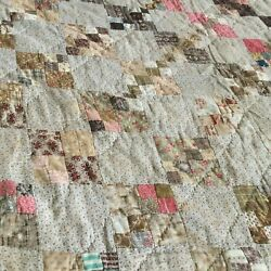 Early 1800's Antique Hand Made Quilt Finished In Wonderful Old Antiques Fabrics