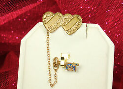 1942 Sweetheart Pins Wwii Chained Gold Plated Double Hearts And Enamel Key Fab