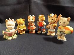Lot Of 6 Bc Bronson Collectibles Cat / Kitten Figurines 1993 / 1994 - Excellent