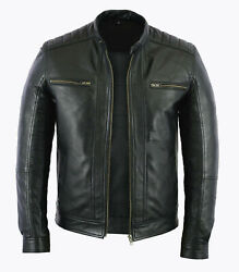 Mens Fashion Real Leather Lambskin Leather Biker Style Motorcycle Jacket