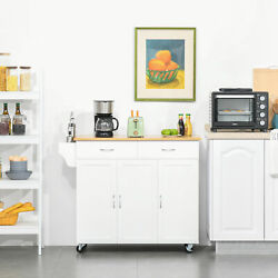 Modern Kitchen Trolley Cupboard With Towel/spice Rack And 2 Cabinets With Shelves
