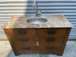 Antique Country Farmhouse Furniture Bathroom Vanity Sink Marble Top