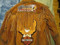 Indian / Harley Davidson Fringed Suede Jacket L/xl And Chief's Knife