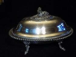 Antique Covered Butter Dish Rodgers Smith Co Silver Plate 1857-1862 Goat Cow