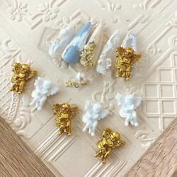100pcs/bag1418mm Baroque Angel Nail Charms Manicure Relief Ornaments Nail Diy
