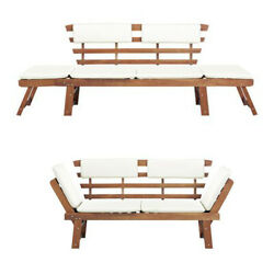 2-in-1 Garden Bench Day Bed Solid Acacia Wood Patio Seating Sun Lounger Chair