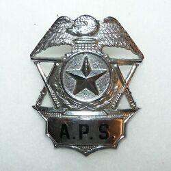Vintage American Protective Services Security Guard Metal Hat Badge