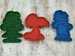 Lot Of 3 Vintage United Feature Peanuts Cookie Cutters Snoopy Lucy Linus Plastic