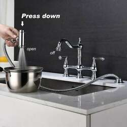 Dual Handles Bridge Kitchen Faucet With Pull-out Side Spray In Polished Chrome