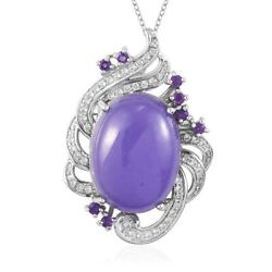 925 Sterling Silver Purple Jade Amethyst Necklace Pendant Gift Size 20 Ct 19.3