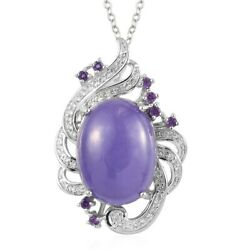 925 Sterling Silver Purple Jade Amethyst Necklace Pendant Gift Size 20 Ct 15.4