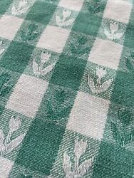 Vintage Green And White Plaid Check Heavy Cotton Farmhouse Tablecloth Picnic Cafe