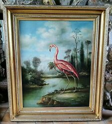 Antique Style Oil Painting Portrait Pink Flamingo Bird In A Landscape Signed O/c