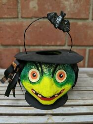 Dept 56 Green Witch Paper Mache Candy Container Pail Bucket Halloween Decor