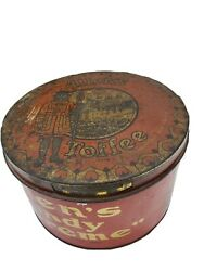 Antique / Vintage Large Allen's Toffee Candy Supreme Tin Container Box