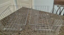 2 Vintage Metal Wire Desk Baskets Trays Deep In Out Boxes Organizers 16 X12x5.5