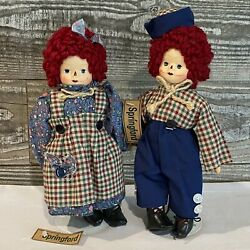 Springford Dolls Set 2 Raggedy Anne And Andy In Plaid And Blue With Stand