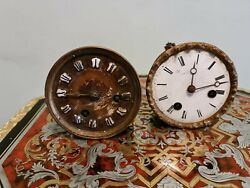 Two Antique French Clock Movements Parts Or Repair