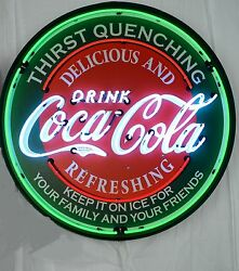 Giant Coca-cola Evergreen 3 Ft. 36 Round Neon Sign 9ccgrn Coke Free Shipping