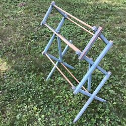 Antique Country Farmhouse Wood Drying Rack Fabulous Old Blue Paint Rare Sm Size