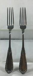 Poland 1930andrsquos Warszawa 800 Silver Two Dinner Forks.