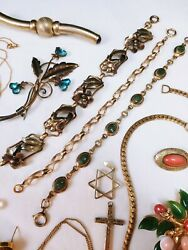 Vintage Gold Filled Gemstone Coral Jade Jewelry Lot Necklace Earrings Pin Brooch