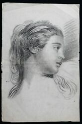 Antique Portrait Of Lady Profile Mine Lead And Charcoal Drawing Antique 31x48