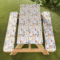 Picnic Table And Bench Seat Covers With Elastic Edges - Bbq - 3 Pieces
