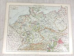 1898 Antique Map Of Germany German Empire Old 19th Century Victorian