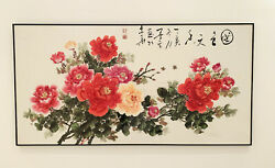 Large Original Painting Chinese Moutan Flowers -signed Framed