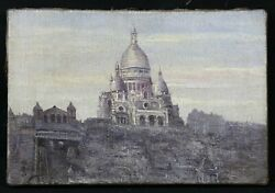 School French Antique Oil On Canvas Sacred Heart In Montmartre Paris France