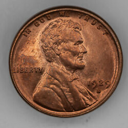 1929 S Lincoln Wheat Cent Penny 1c Gem Bu Brilliant Uncirculated - Red 2958