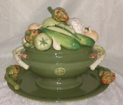 Vintage Fitz And Floyd Giardino Ceramic Vegetable Soup Tureen,ladle And Oval Platter