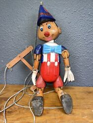 Vintage Disney Carved Wood Wooden Marionette Puppet Pinocchio 15 In