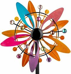 Color Wind Spinner Kinetic Decor Patio Outdoor Lawn Stake Yard Art Garden Home
