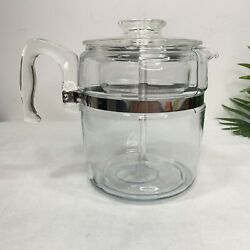 9 Cup Vintage Pyrex Flameware 7759 Coffee Pot Glass Percolator Complete Filters