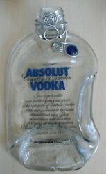 Absolut Vodka Melted Flattened Glass Cheese Board Tray Silver And Jewel Neck