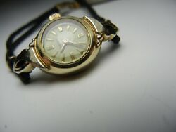 Vintage Longines Womens Watch 1956 G/f Case + Fancy Lugs + Black Cocktail Band