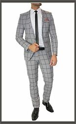 Fc Plus Suit Set Checked Fitted Dual Slot Shirt Tie Grey Checked Braun
