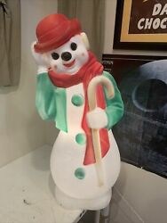 Vintage 1971 Empire 34 Hobo Clown W/ Candy Cane Snowman Blow Mold Working Usa