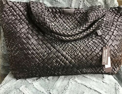 FALOR ITALY Black Hand Woven Soft Leather Tote F7349T XL NWT $299.00