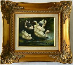 Original Oil Painting Of Playful Ducks In Pond In A Ornate Gold Wooden Frame