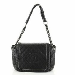 Istanbul Accordion Flap Bag Quilted Aged Leather Small