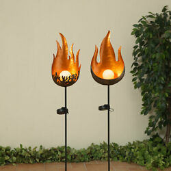 Gerson 35.4h Solar Lighted Metal Flame W/ Crackle Glass Ball Yard Stake, 2 Asst