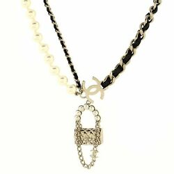 Classic Bag Pendant Necklace Metal With Lambskin And Faux Pearls Long