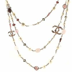 Cc Triple Strand Necklace Crystal Embellished Metal With Faux Pearls And