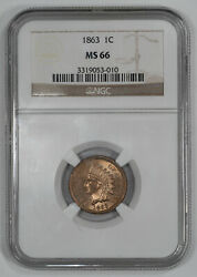 1863 Indian Head Cent Penny 1c Ngc Certified Ms 66 Mint State Unc 010