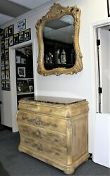 Schnadig Empire Collection Marble Top Dresser And Matching Beveled Mirror